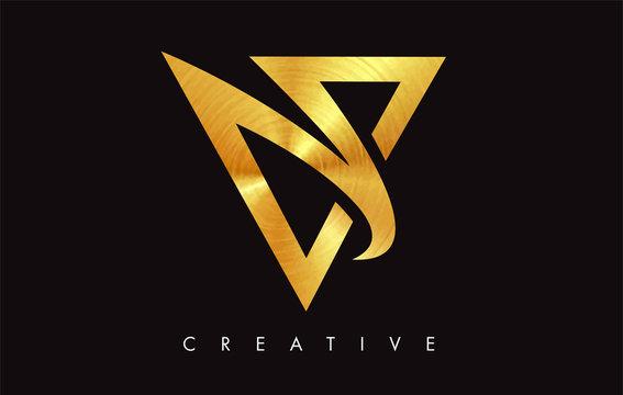 V Letter Logo Icon Design in Golden Colors Monogram. V Gold Logo Modern