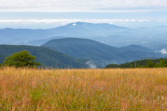 View of the Blue Ridge mountains from the Appalachian Trail near the summit of Cole Mountain in Amherst County, Virginia