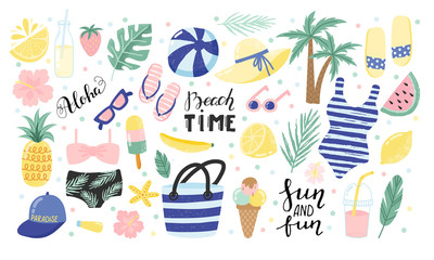 Summer set with hand drawn elements