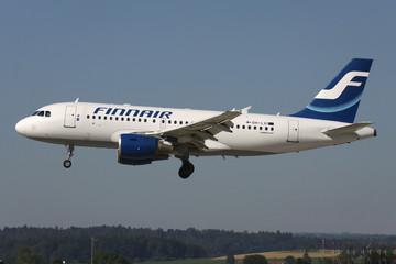 OBERGLATT, SWITZERLAND - June 27, 2011: Finnair Airbus A319-100 with registration OH-LVI on short final for runway 14 of Zurich Airport.