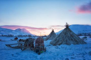 Fototapeta Nenets reindeer herders choom on a winter sunset obraz