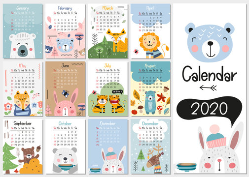 Calendar 2020. Yearly Planner Calendar with all Months. Templates with cute hand drawn animals in Scandinavian style. Vector illustration. Great for kids, nursery, poster and printable.