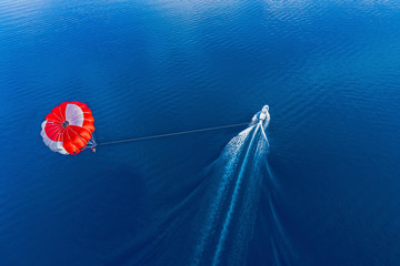 Aerial view of a paraglider flying above the ocean, South Male Atoll, Maldives