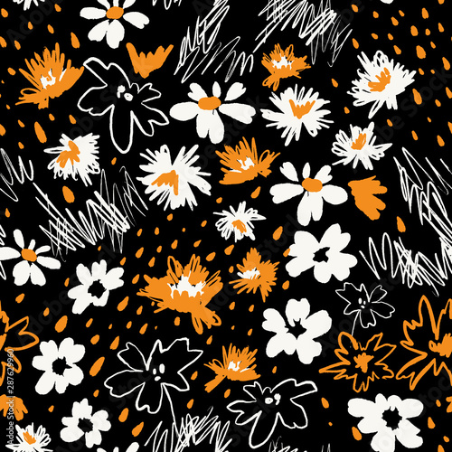 Flowers In Doodle Style Seamless Pattern Made Of Daisies