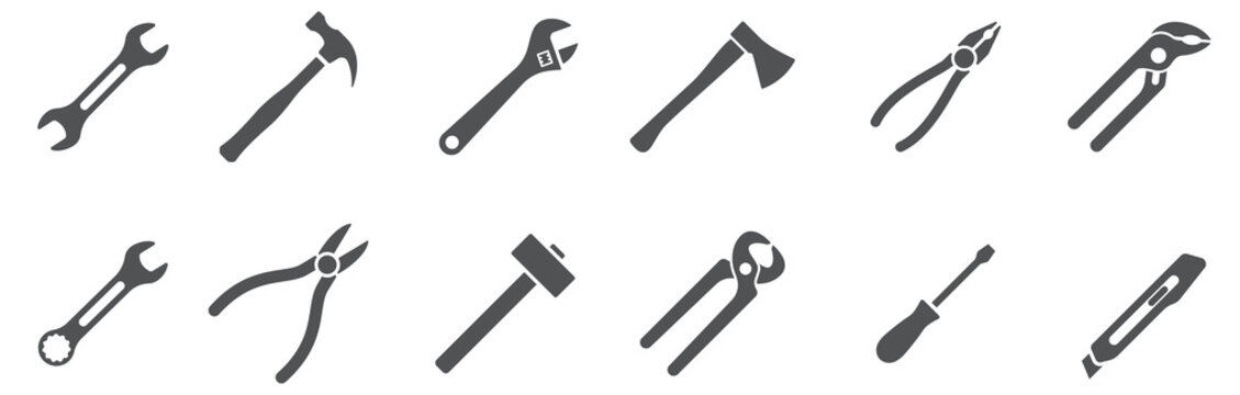 Tools icons set. Instruments signs collection. Vector illustration