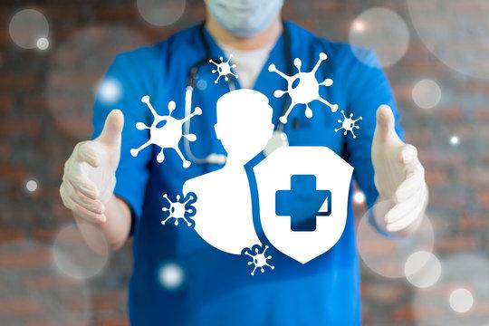 Immune system medical concept. Human immunity health safety.