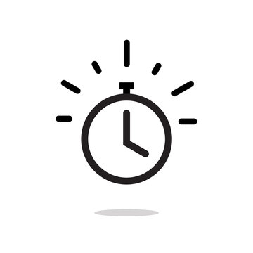 Stopwatch or timer with fast time count down icon vector, line outline chronometer symbol or pictogram