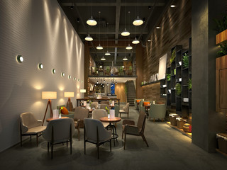 Fototapeten Restaurant 3d render of restaurant cafe