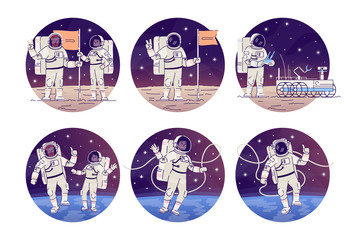 Astronauts in outer space flat concept icons set. Cosmonauts flying in zero gravity, placing flag stickers, cliparts pack. Alien planet, moon landing isolated cartoon illustrations on white background