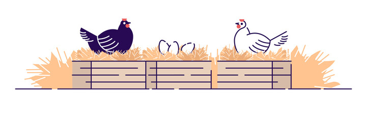 Poultry farming flat vector illustration. Organic animal agriculture, hennery. Chicken farm cartoon concept with outline isolated on white background. Hens carrying eggs in nests, chicken coop