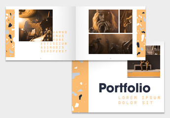 Portfolio Layout with Terrazzo Pattern Elements