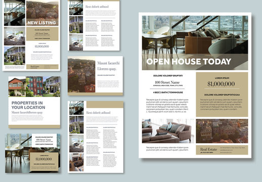 Property Real Estate Flyer Layouts with Beige Accents