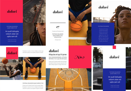 Bright Red and Blue Social Media Post Layout Set