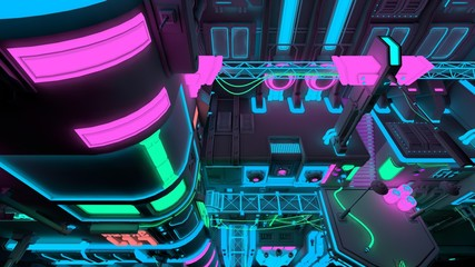 Fotomurales - Top down view of a futuristic building with bright neon lights. 3D illustration. Wallpaper in the style of cyberpunk. Futuristic cityscape.