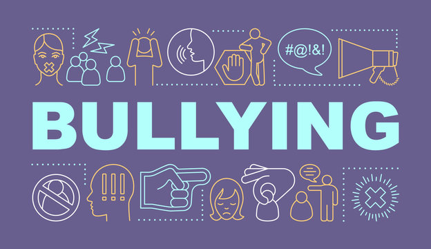 Bullying word concepts banner. Social abuse, oppression and violence. Prejudice and discrimination. Presentation, website. Isolated lettering typography with linear icons. Vector outline illustration