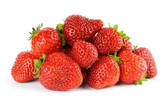 Strawberry fruit on white