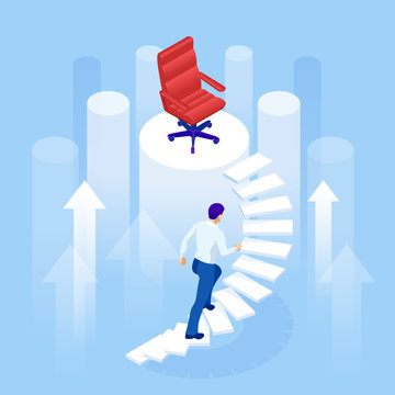 Isometric Business Career Growth concept. Challenge, Trouble, obstacles, Path to the goal, Business concept growth to success, Progress ladder businessman challenge.