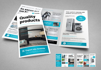 Tri-fold Brochure Layout in White and Cyan