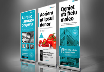 Roll-up Banner Layout in White and Blue