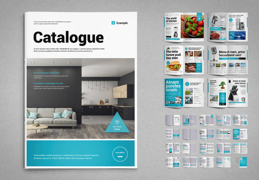 Product Catalog Layout in Black and White with Cyan Accents