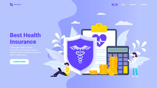 Protect your health landing page concept. Buy health insurance online, health care concept, protect your health concept with small characters for landing page, web site design, banner, hero image.