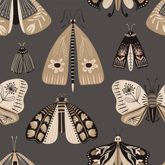Wall Murals Boho Style Folk Art Seamless Pattern With Moths.