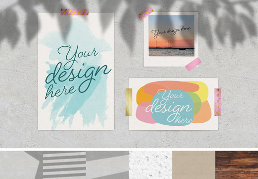 Mood Board with Tape Elements Mockup