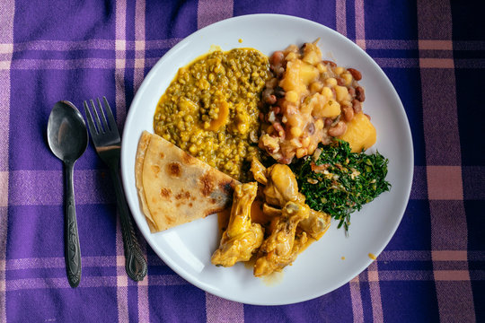 A plate of african tradional food table top view