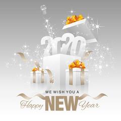 Happy New Year 2020 firework box silver grey background