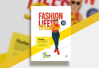 Flyer Layout with Casual Fashion Illustration Element