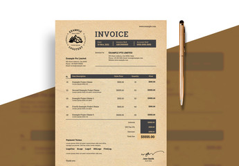 Invoice Layout with Paper Texture Background Element