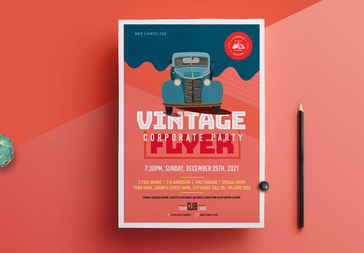 Event Flyer Layout with Vintage Car Illustration Element
