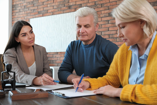 Female notary working with mature couple in office