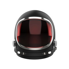 Black vintage astronaut helmet with red visor glass - isolated on white background