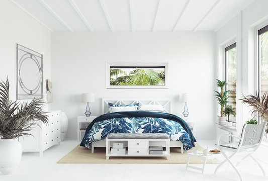 White tropical bedroom interior, Coastal style, 3d render