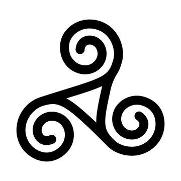 Triskelion symbol icon. Breton and Celtic spiral. flat vector illustration
