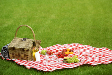 Fotobehang Picknick Picnic basket with fruits and bottle of wine on checkered blanket in garden