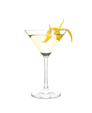 Glass of lemon drop martini cocktail  with zest on white background