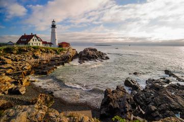Acrylic Prints Coast Dramatic morning at the Portland Head Lighthouse.
