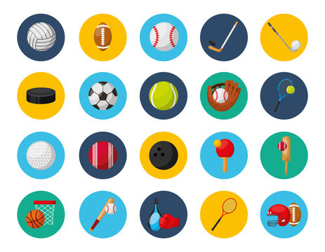 bundle of sports equipment icons