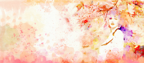 Autumn.Watercolor abstract portrait of girl.