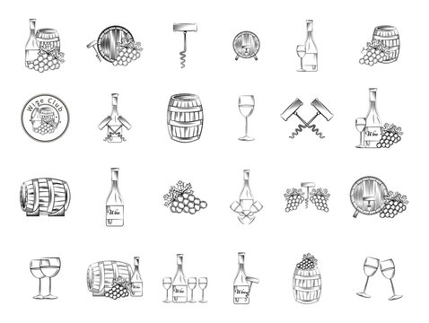 bundle of grapes and wine icons