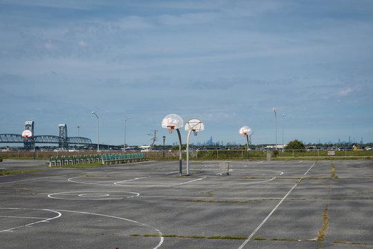 Empty Basketball Courts at Fort Tilden Beach