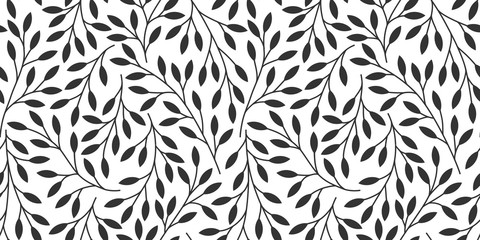 Foto op Canvas Kunstmatig Elegant floral seamless pattern with tree branches. Vector organic background.
