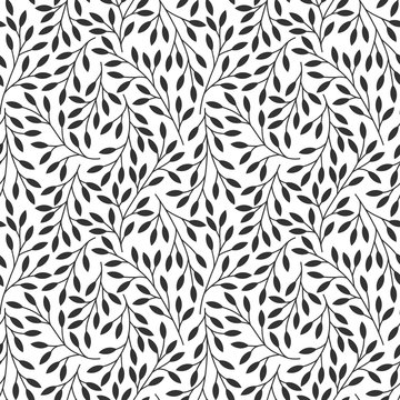 Elegant floral seamless pattern with tree branches. Vector organic background.