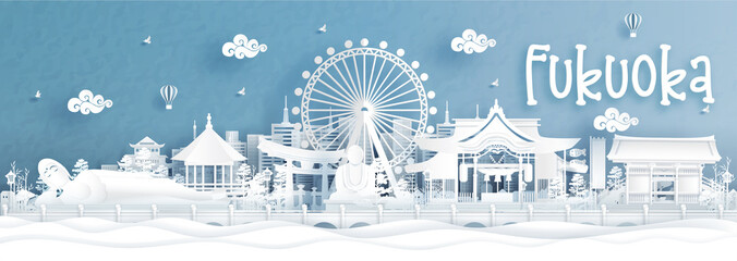 Fototapete - Panorama view of Fukuoka city skyline with world famous landmarks of Japan in paper cut style vector illustration.