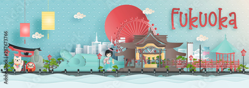 Fototapete Panorama view of Fukuoka city skyline with world famous landmarks of Japan in paper cut style vector illustration.