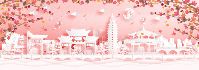 Fototapete - Autumn in Kunming, China with falling maple leaves and world famous landmarks in paper cut style vector illustration
