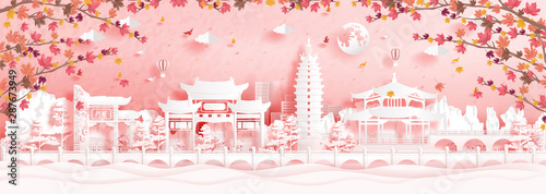 Fototapete Autumn in Kunming, China with falling maple leaves and world famous landmarks in paper cut style vector illustration