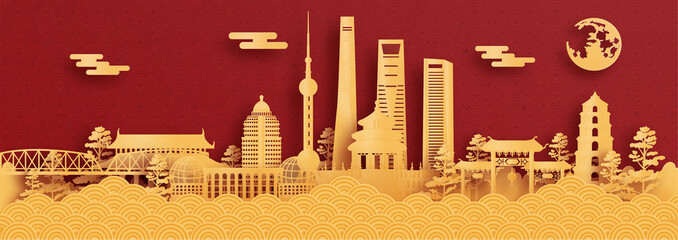 Fototapete - Panorama postcard and travel poster of world famous landmarks of Shanghai, China in paper cut style vector illustration